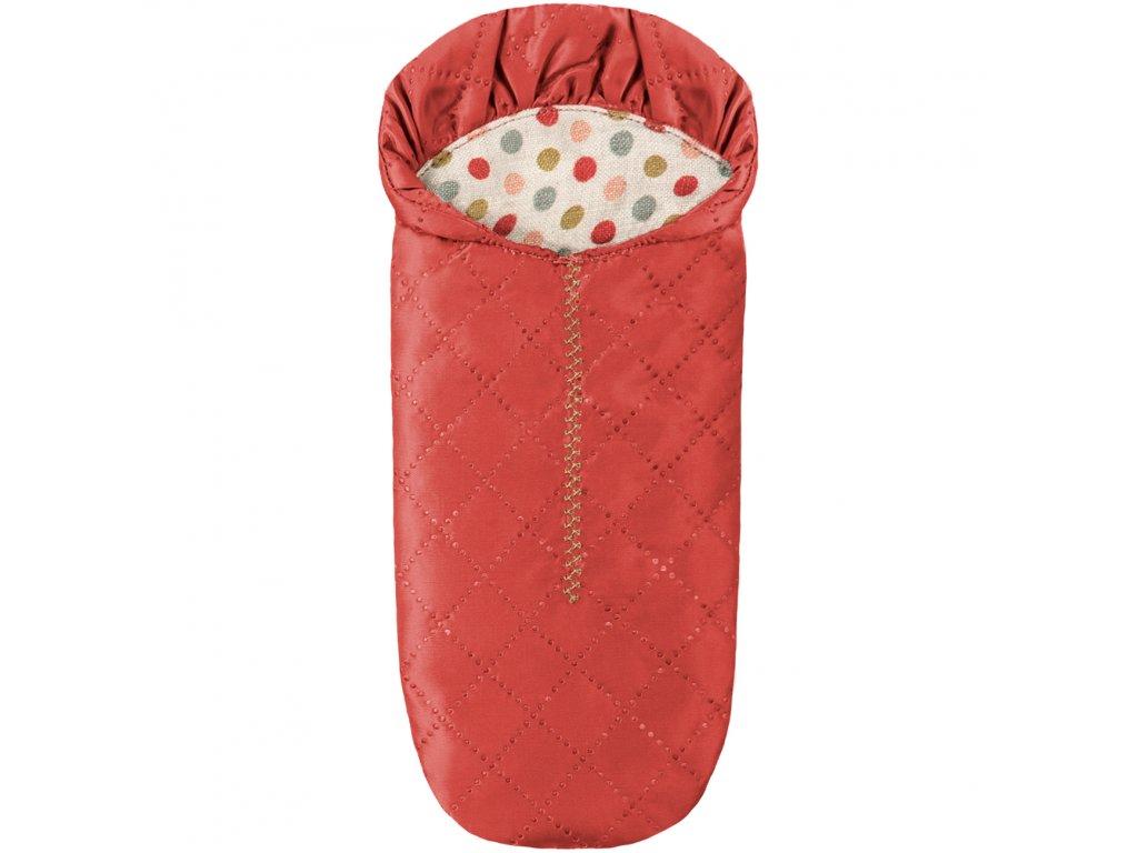 maileg mus mice toys leg play box aeske lille little mus sleeping bag sove sovepose sleeping bag taske red roed 1 p