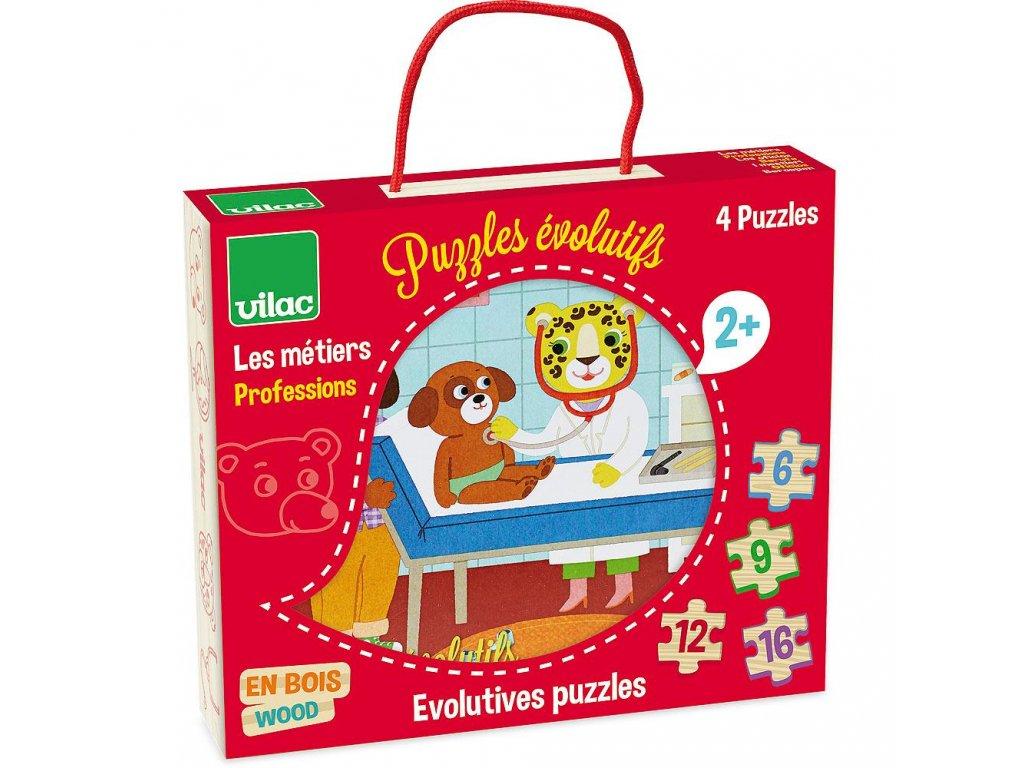 Vilac Dřevěné puzzle - Povolání 4v1
