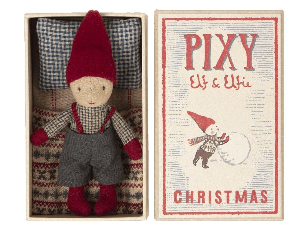 Maileg Vánoční skřítek v krabičce Pixy Elf