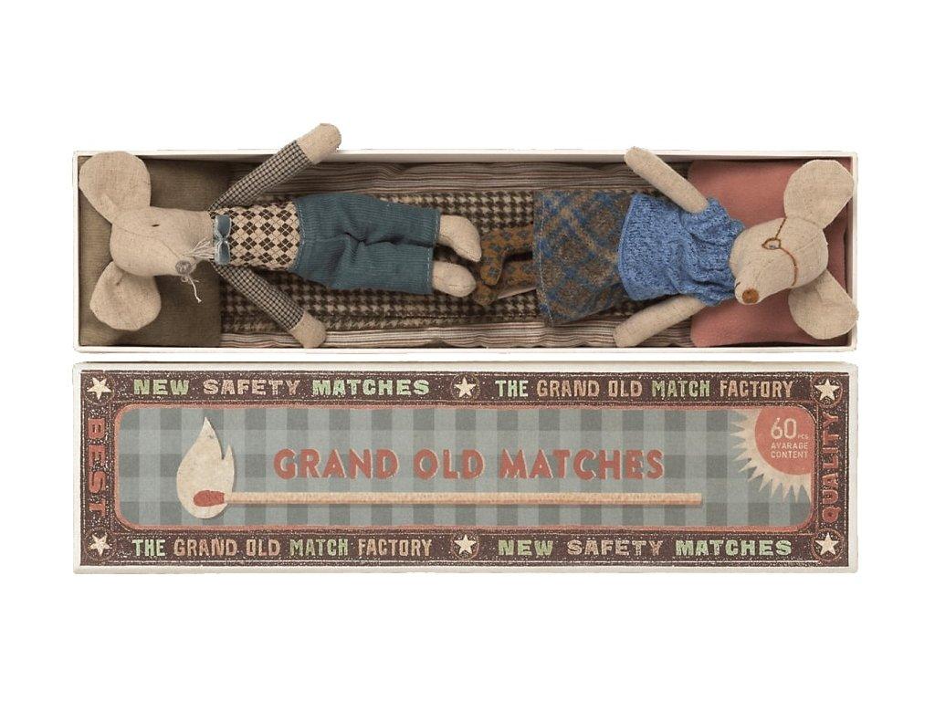 Maileg Myšky v krabičce od zápalek - babička a děda