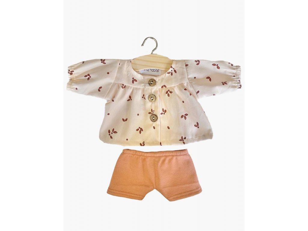 Ensemble blouse Écolière Végétal et son shorty en molleton Cassonade