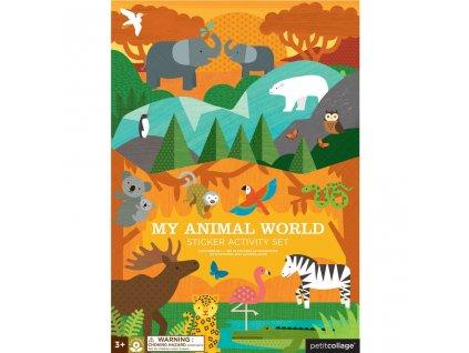 Petitcollage Znovupoužitelné samolepky se scénou - Můj svět zvířat