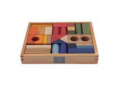 Wooden Story Barevné dřevěné kostky v krabičce 30 ks