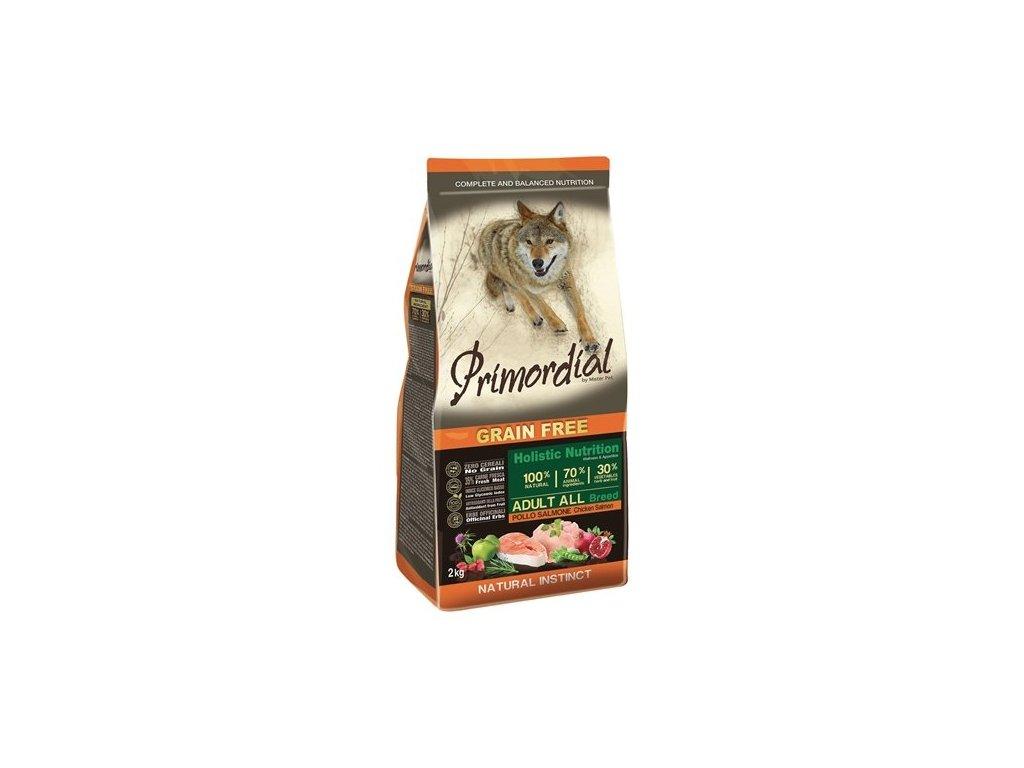 Primordial Adult Chicken & Salmon 12 kg  + Masové pamlsky Serrano Snack for Dog 100g zdarma