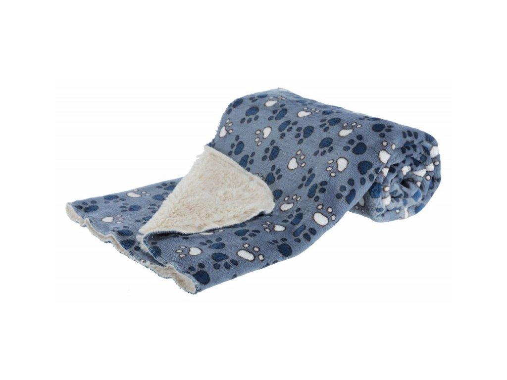 Deka TAMMY 150x100 cm jemný plyš/dlouhý plyš modrá s packami