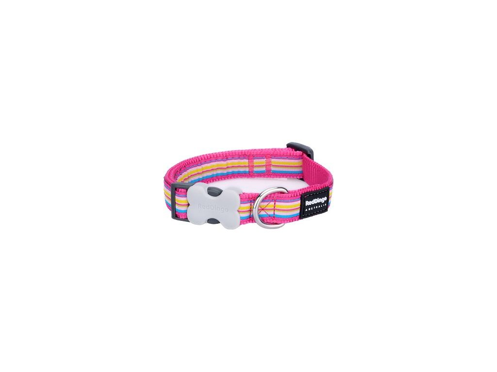 Obojek Red Dingo 20 mm x 30-47 cm - Horizontal Stripes Hot Pink
