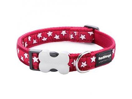 Obojek Red Dingo 20 mm x 30-47 cm - Stars White on Red