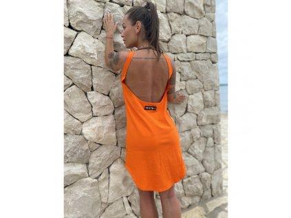 open back dress orange