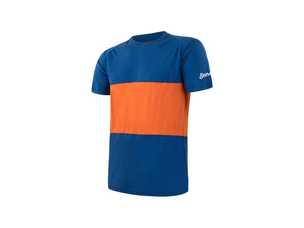 triko krátké pánské SENSOR MERINO AIR PT modro/oranžové