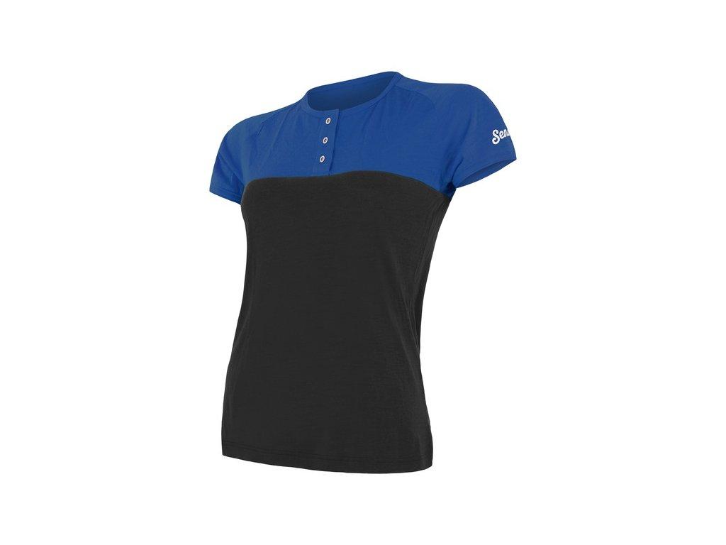 triko krátké dámské SENSOR MERINO AIR PT s knoflíčky modro/černé
