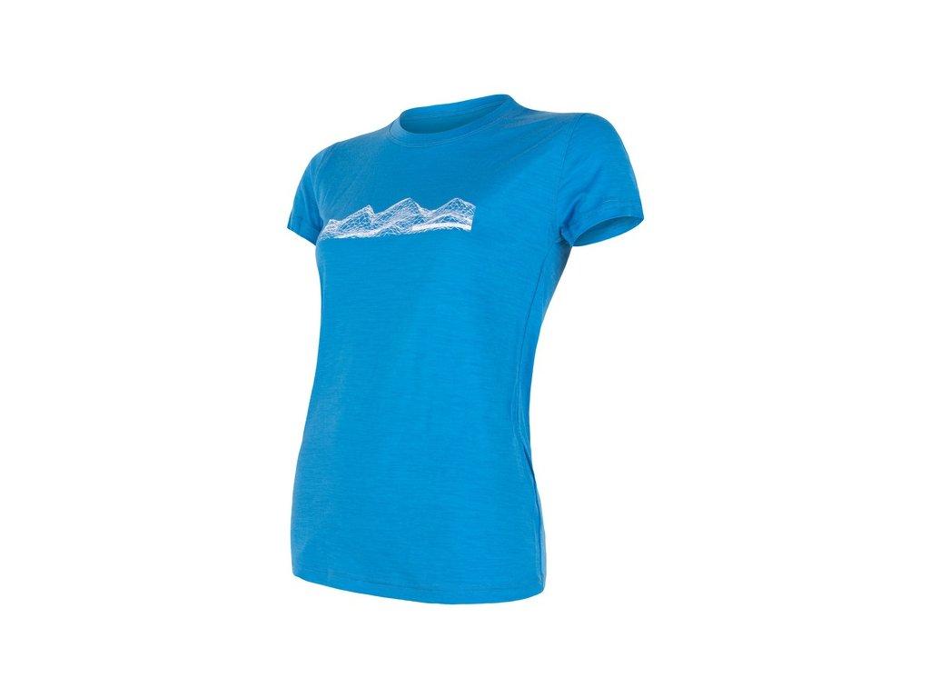 triko krátké dámské SENSOR MERINO ACTIVE PT MOUNTAINS modré