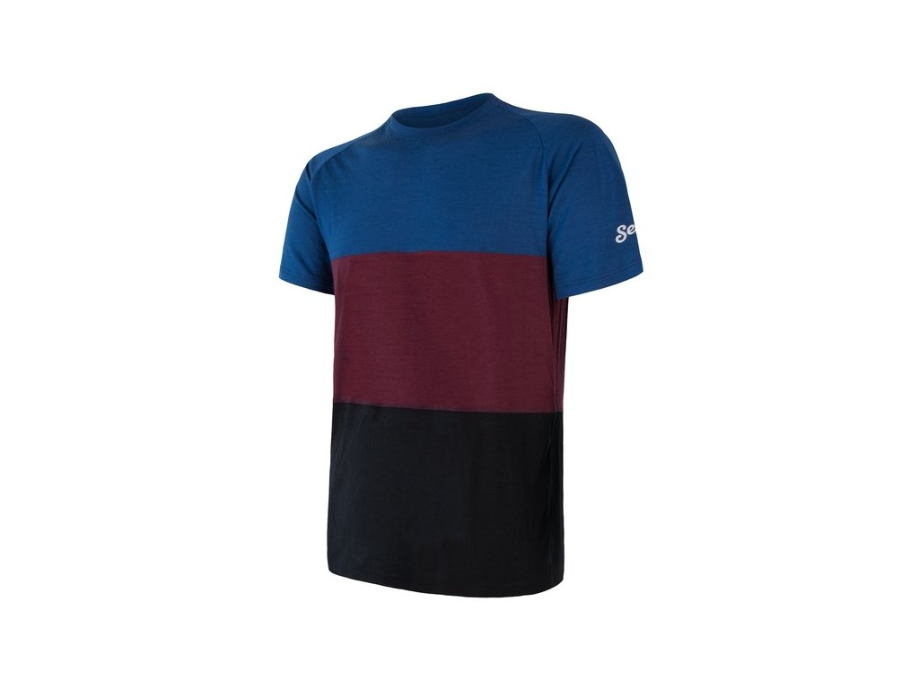 triko krátké pánské SENSOR MERINO AIR PT modro/vínové
