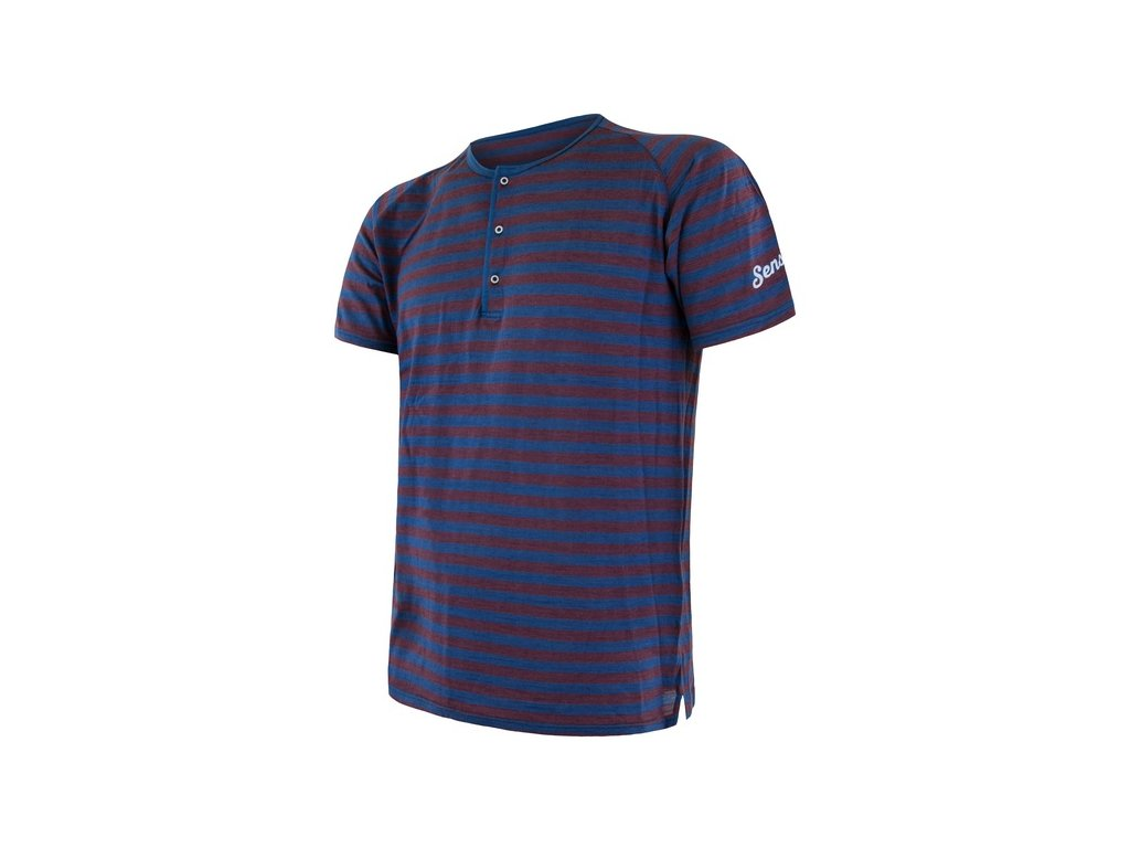 triko krátké dámské SENSOR MERINO AIR PT s knoflíčky modro/vínové