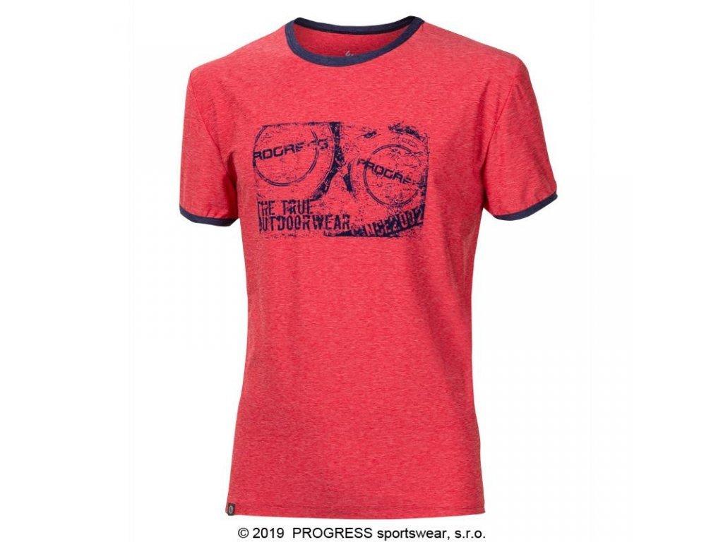 triko krátké pánské Progress  MAVERICK červený melír