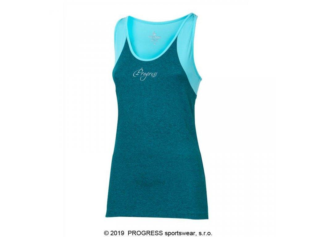 tílko dámské Progress MALAGA zeleno/modré
