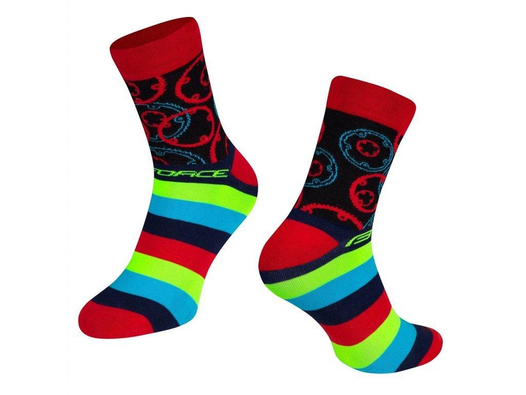 ponožky cyklistické Force SPROCKET, převodníky, červené