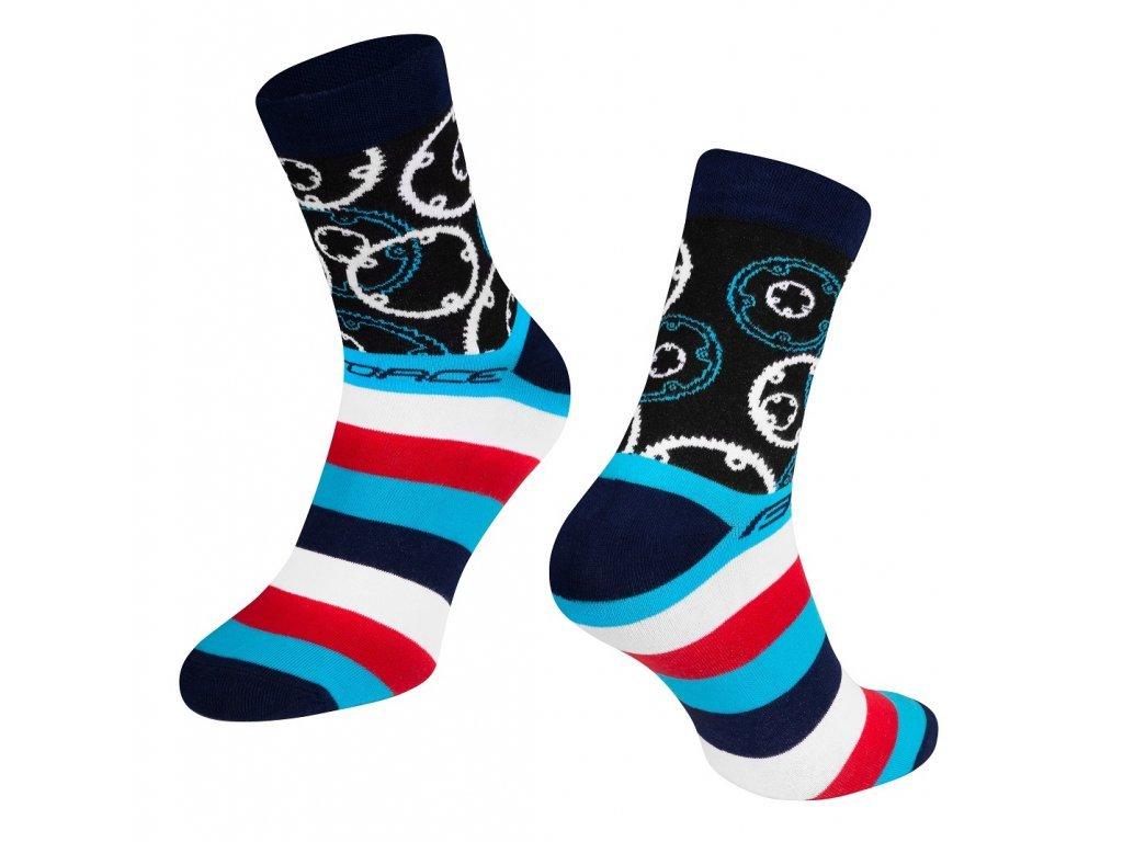 ponožky cyklistické Force SPROCKET, převodníky, modré