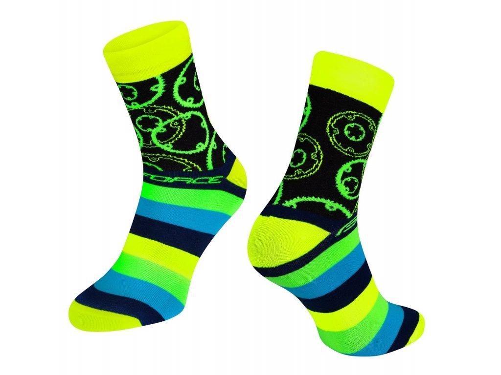 ponožky cyklistické Force SPROCKET, převodníky, žluté - fluo
