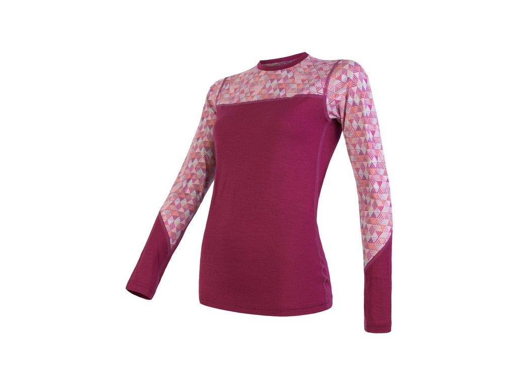 triko dlouhé dámské SENSOR MERINO IMPRESS lila/pattern