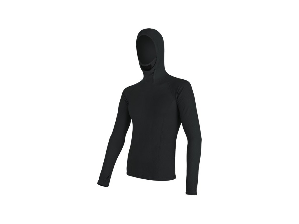 triko dlouhé pánské SENSOR MERINO DOUBLE FACE s kapucou černé