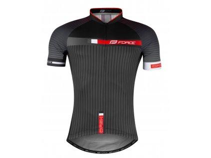 dres FORCE DASH krátký rukáv,šedo-červeno-černý