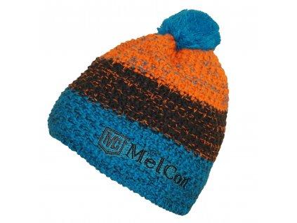 Čepice MelCon pletená Modro - oražová Uni