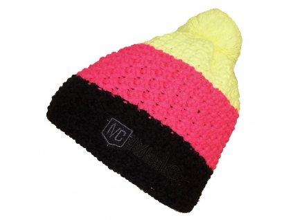 Čepice MelCon pletená černo-růžová Uni