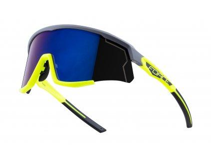 brýle FORCE SONIC šedo-fluo, modro-fial. zrc. skla