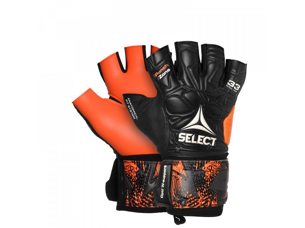 Brankářské rukavice Select GK gloves Futsal Liga 33 Negative Cut černo oranžová