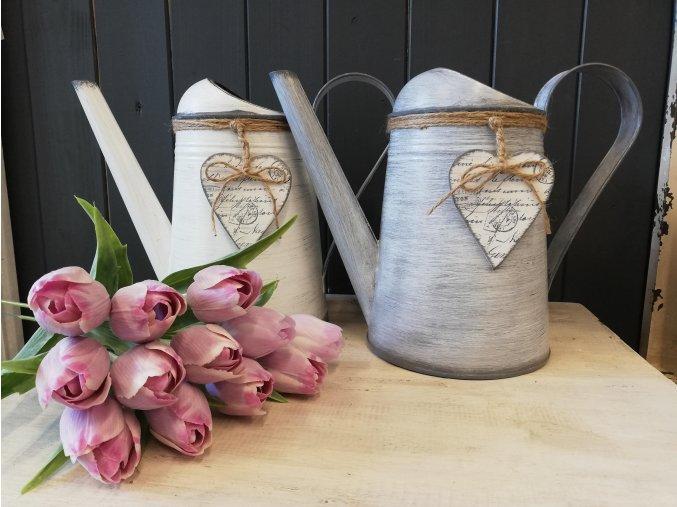 Konvička na zalévání s dekorem levandule, srdce a luční kvítí - provence
