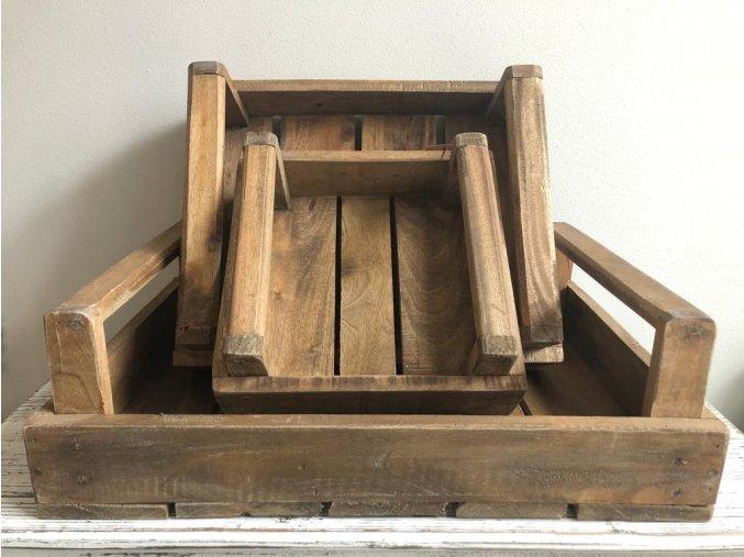 Teakové dřevěné podnosy