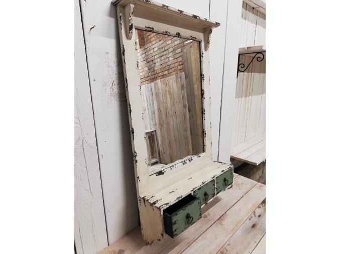 Retro zrcadlo se zásuvkami a věšáky - provence