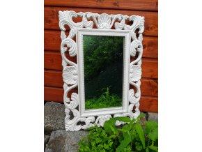 Bílé antické vzorované zrcadlo