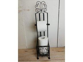 Černý kovový stojan na toaletní papír do koupelny