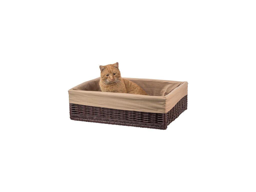 Dřevobox Proutěný pelíšek pro kočku s poduškou