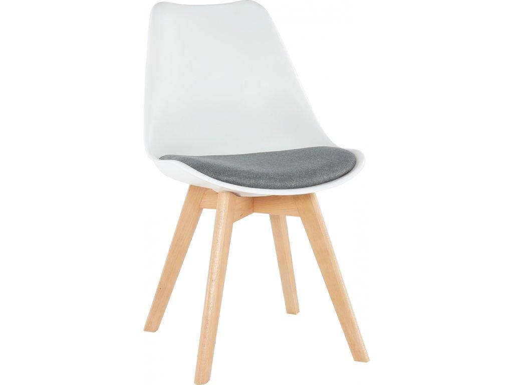 Bílá židle do kuchyně s čalouněným sedákem a dřevěnou podnoží