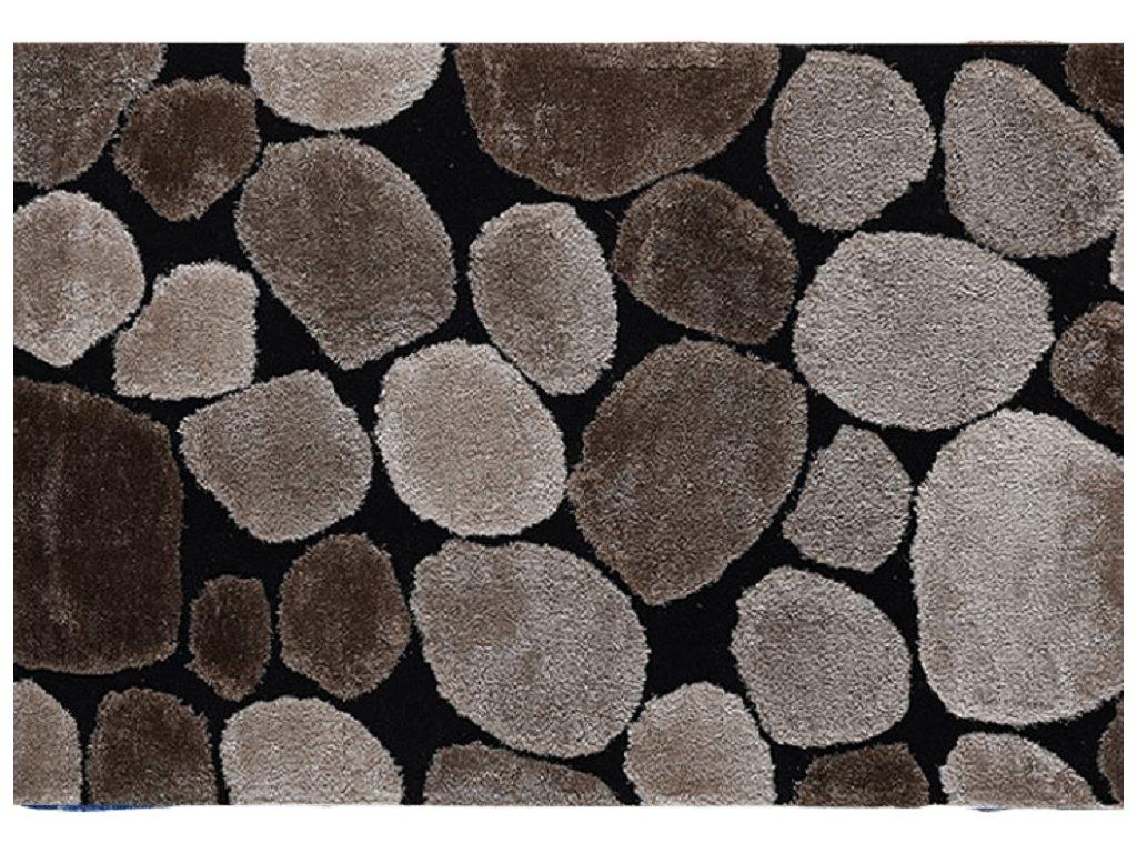 Koberec, hnědá / černá, 70x210, PEBBLE TYP 2
