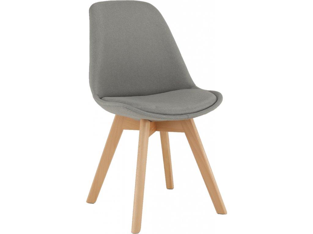 Čalouněná židle v odstínu teplá světle šedá, dřevěná noha