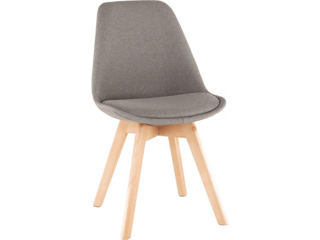 Pohodlná jídelní židle čalouněná, šedohnědá látka, dřevěná podnož