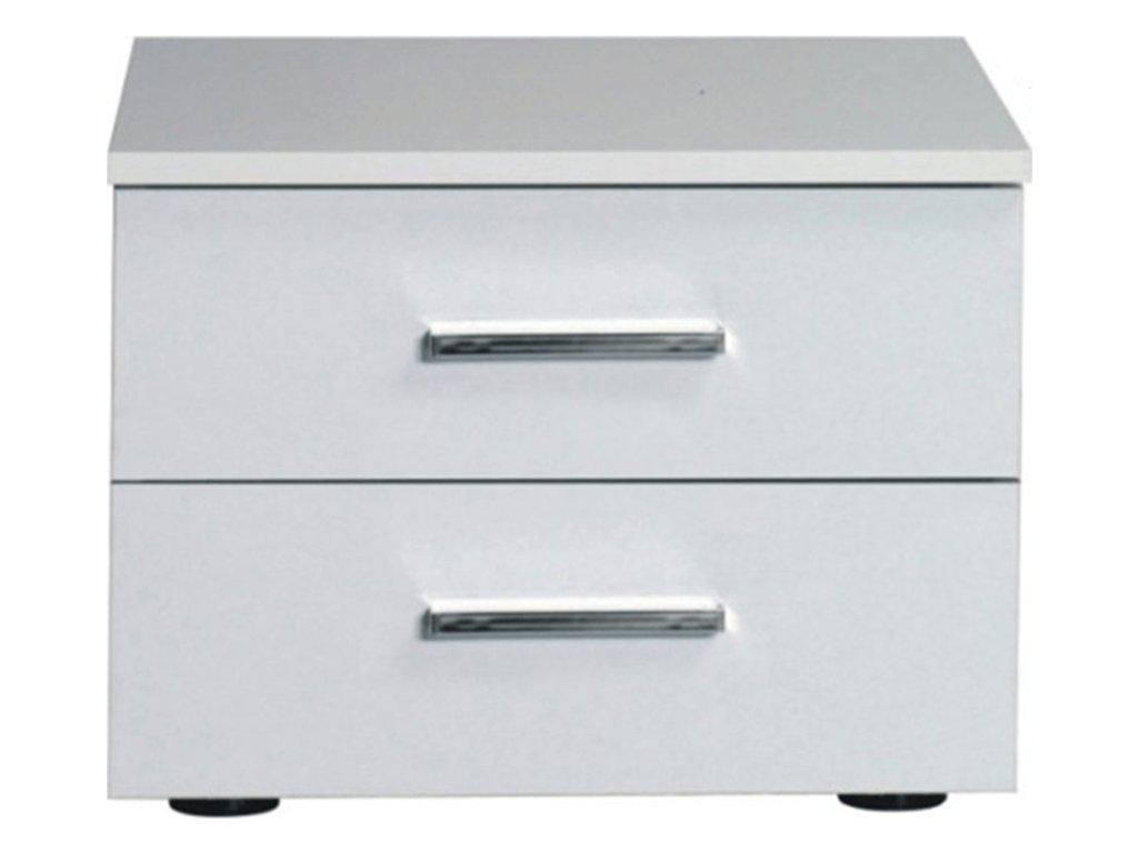 Noční stolek, 2 kusy, bílá / vysoký bílý lesk HG, ASIENA