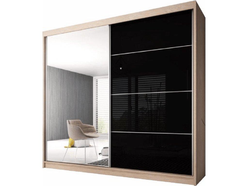 Skříň s posuvnými dveřmi, dub sonoma / černý lesk, 233x218, MULTI 31