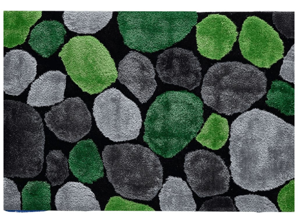 Koberec, zelená / šedá / černá, 100x140, PEBBLE TYP 1
