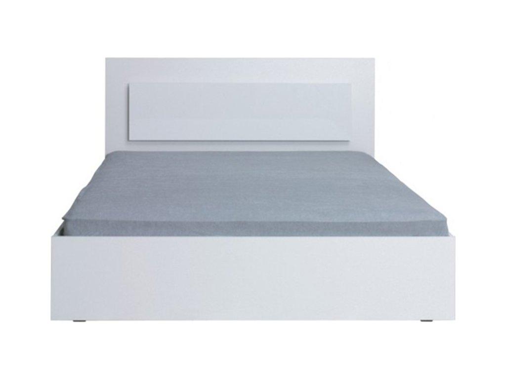 Manželská postel, 160x200, bílá / vysoký bílý lesk HG, ASIENA