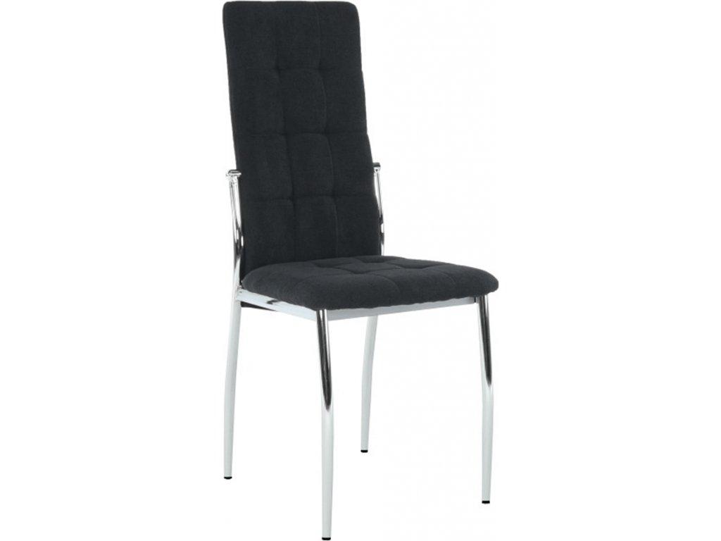 Židle černá látka, kovová podnož, vysoké opěradlo