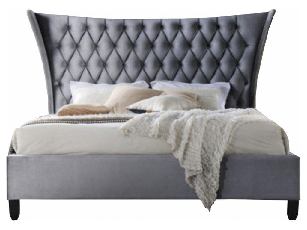 Manželská postel, šedá / wenge, 180x200, ALESIA