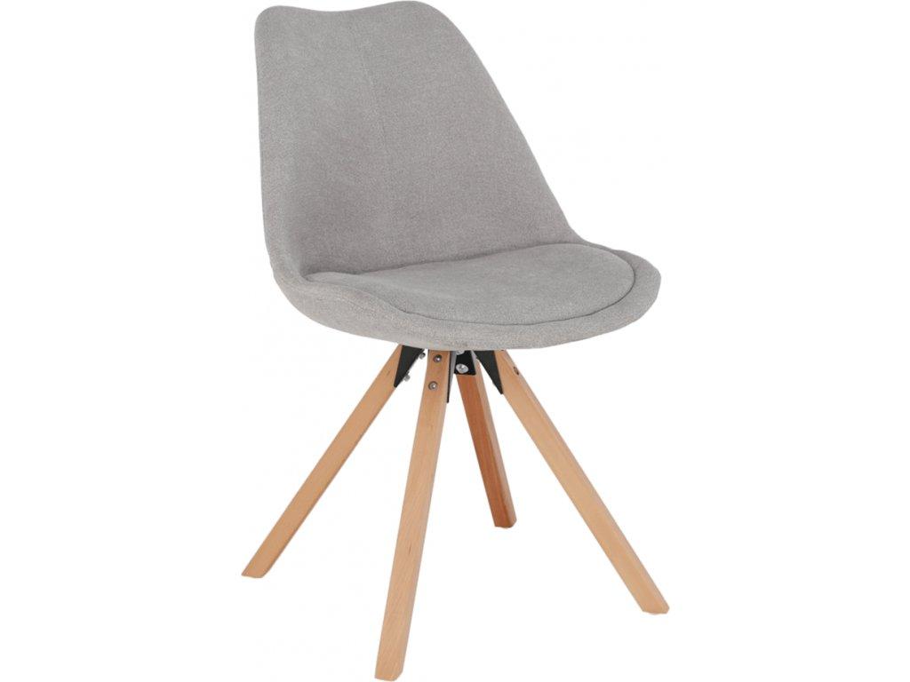 Designová židle čalouněná, světle šedá látka, podnož buk