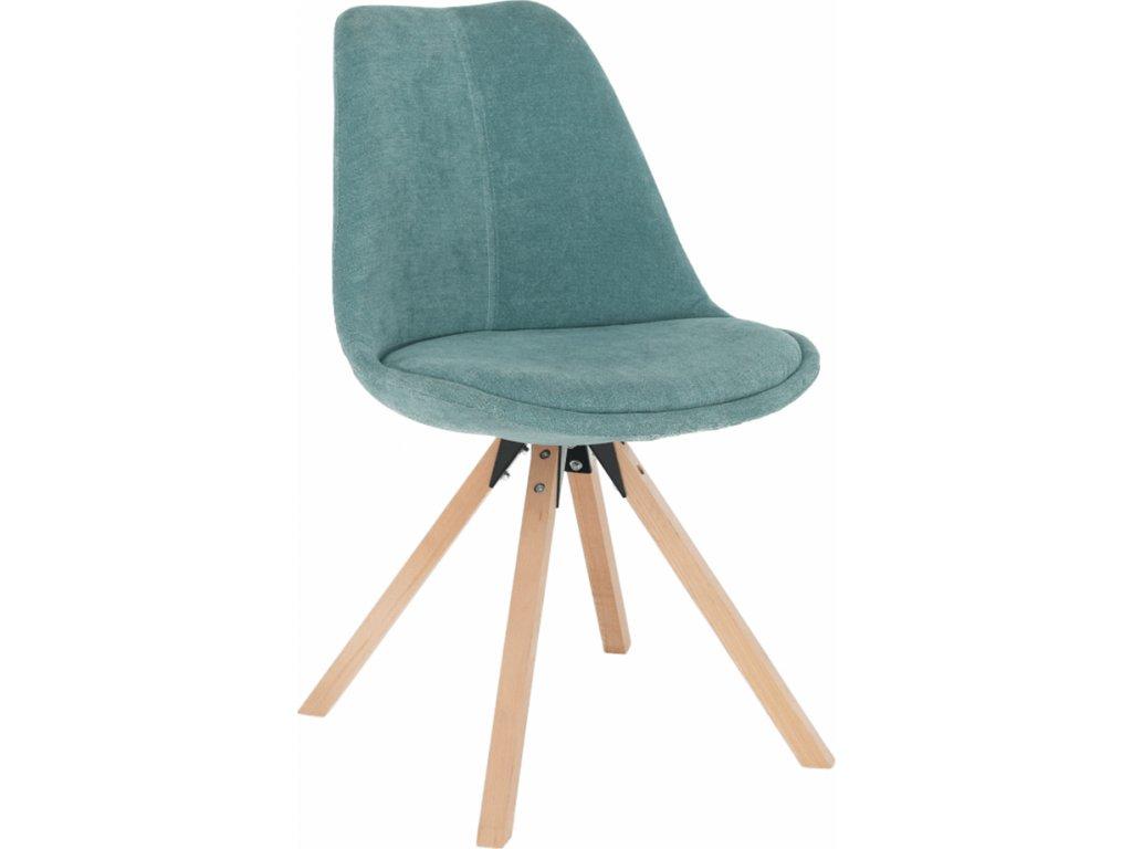 Čalouněná židle mentolová barva, podnož dřevo buk