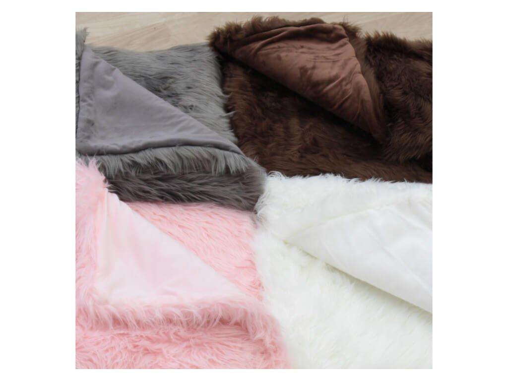 Kožešinová deka, šedá, 150x180, Ebona TYP 5