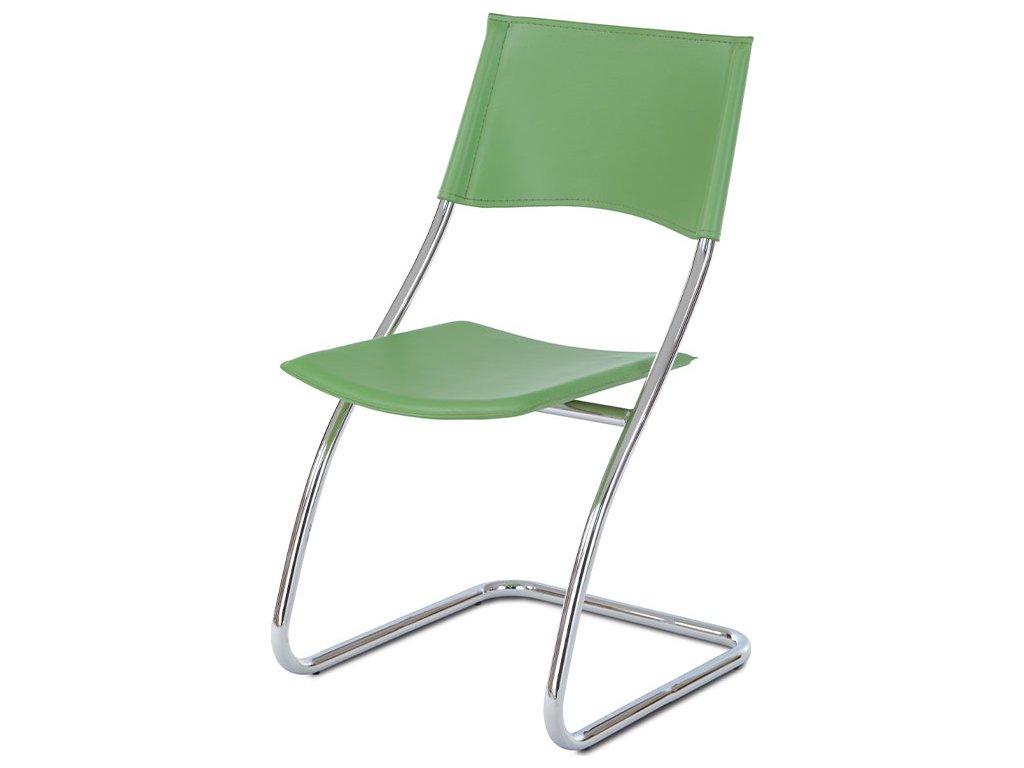 Židle chrom / zelená koženka