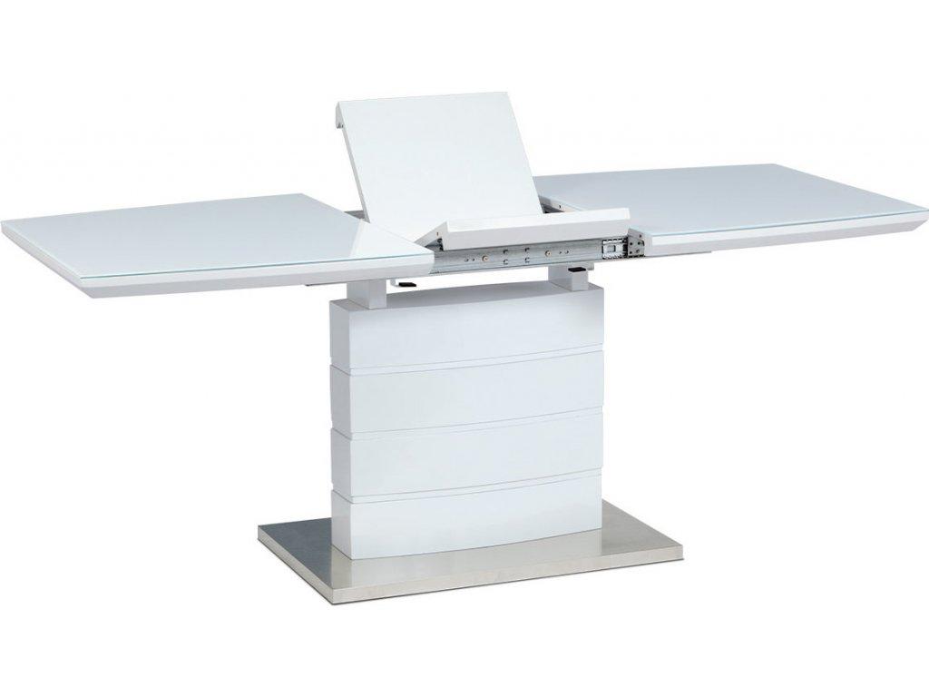 Rozkládací jídelní stůl 140+40x80x76 cm, bílé sklo, bílý vysoký lesk, broušený n